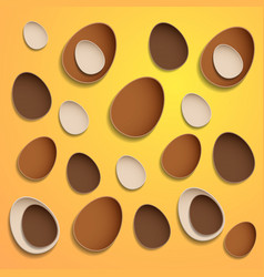 abstract chocolate easter eggs on yellow vector image