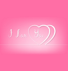 abstract couple line heart on pink background vector image