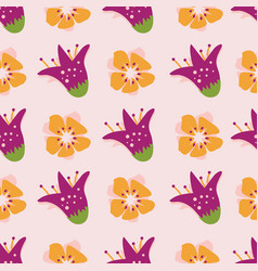 abstract summer flowers on a warm apricot colored vector image