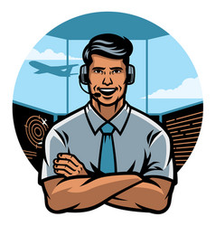 Air traffic controller worker smiling vector
