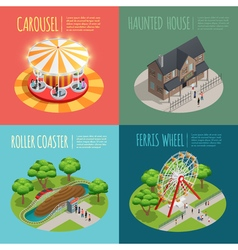Amusement Park Concept Icons Set vector