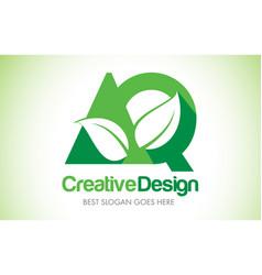 aq green leaf letter design logo eco bio leaf vector image