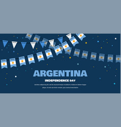 Argentina flags bunting on night background vector