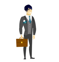 Asian groom holding briefcase vector