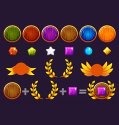 awards round shield and gems set constructor to vector image