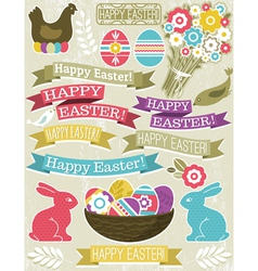 background with ribbon easter eggs rabbit and flow vector image