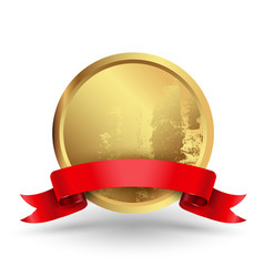 badge circle with red ribbon vector image
