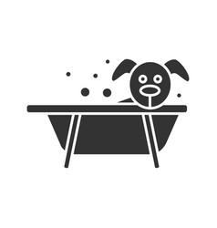 bathing dog glyph icon vector image