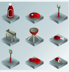 Bbq color gradient isometric icons vector