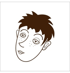 Boy face Isolated on white vector image