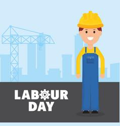 builder worker with helmet vector image