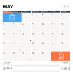 calendar planner for may 2018 design template vector image