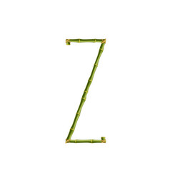 capital letter z made of green bamboo poles on vector image