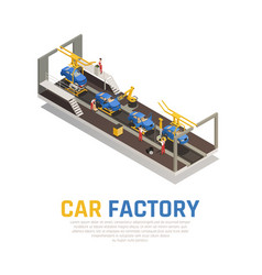 Car factory isometric composition vector