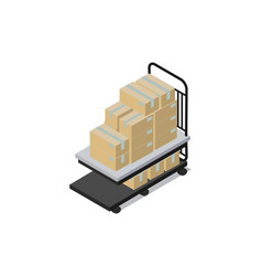 Cart loaded with boxes factory vector