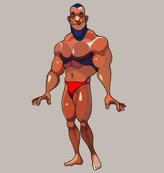 Cartoon muscular bodybuilder posing standing vector