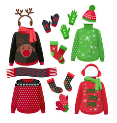 Christmas clothes winter ugly sweaters hats vector