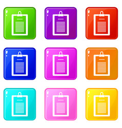 Clipboard with checklist icons 9 set vector