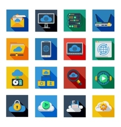Cloud Service Icons In Colorful Squares vector