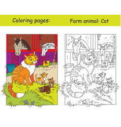 coloring and color for children cat vector image