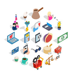 commerce icons set isometric style vector image