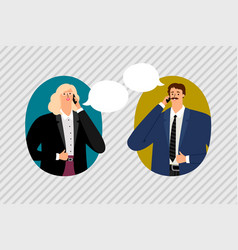 couple talking on the phone vector image