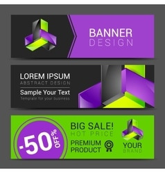 creative banner set with lines logo blank vector image