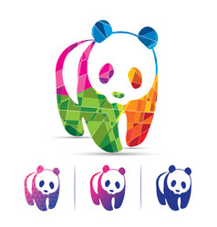 Creative polygon colorful panda vector