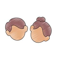 cute couple faces vector image