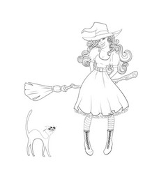 cute girl in witch costume and cat next to her vector image