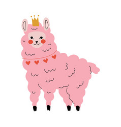 Cute pink llama adorable alpaca animal character vector