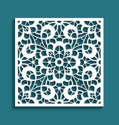 cutout paper panel with floral lace pattern vector image