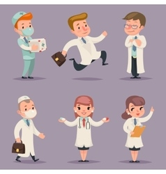 Doctor Different Positions and Actions Character vector image