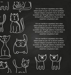 Doodle cats chalkboard poster background vector