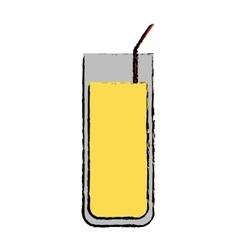 Drawing cocktail glass cup party straw vector