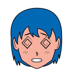face girl anime manga comic vector image