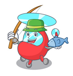 fishing helicopter mascot cartoon style vector image