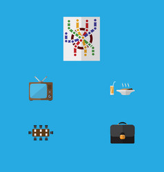 flat icon lifestyle set of television router vector image
