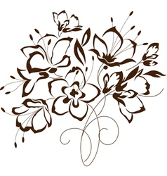 Floral design bouquet of stylized flowers vector