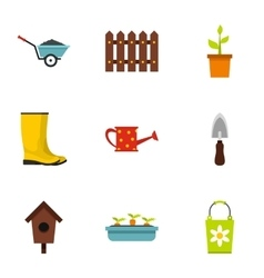 Gardening icons set flat style vector