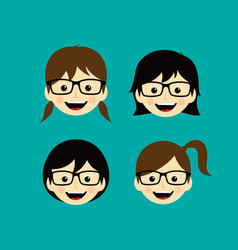 Geek cartoon face expression female woman girl art vector