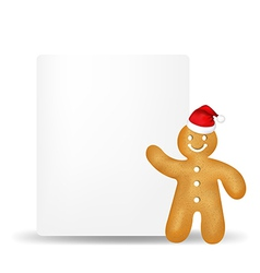 Gingerbread Man With Blank Gift Tag vector image