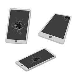 glass hole cracks broken mobile phone electronic vector image