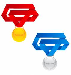 gold and silver medals vector image