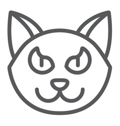 halloween cat line icon animal and magic pet vector image