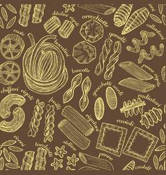hand drawn dark pasta background vector image