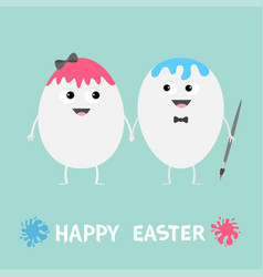 happy easter egg couple family looking on each vector image