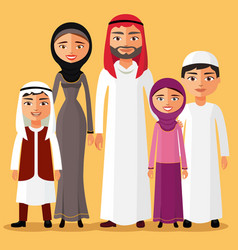 Happy muslim arabic family members vector