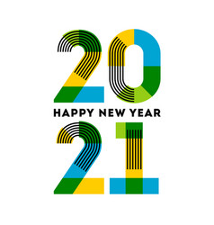 happy new year 2021 design with abstract numbers vector image