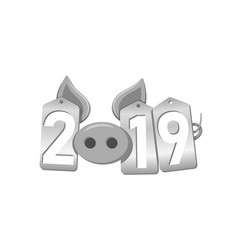happy new year 3d background pig face silver vector image